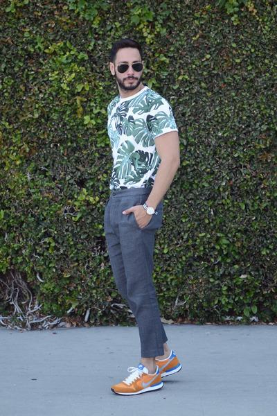 dark green Forever21 shirt - black ray-ban sunglasses