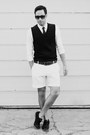 Black-royal-elastics-shoes-white-h-m-shirt-white-h-m-shorts-black-h-m-tie