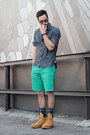 Camel-timberland-boots-navy-levis-shirt-green-lacoste-shorts
