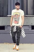 cream LIFE Clothing Co shirt - silver plaid William Rast shirt