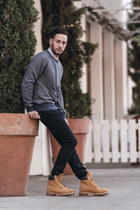 blue Levis sweater - camel Timberland boots - navy Hudson jeans