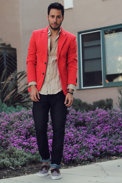 red Zara blazer - heather gray boat shoes Vans shoes - navy Hot Topic jeans