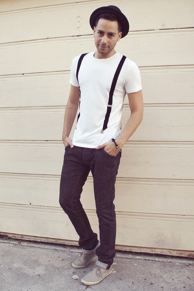 black thrifted jeans - silver H&M shoes - black H&M hat - white Zara shirt