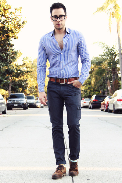 brown leather H&M belt - dark brown brogue oxfords Zara shoes - navy Levis jeans