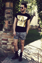 black Ralph Lauren boots - black rad Topman shirt - black paisley Topman shorts