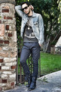 Navy-breckelles-boots-light-blue-guess-jacket