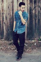 sky blue denim Topman shirt - black leather Zara pants