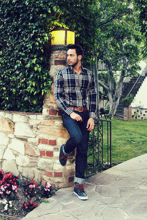 navy boat shoes Vans shoes - navy H&M jeans - navy plaid Express shirt