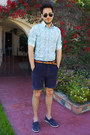 Navy-boat-shoes-h-m-shoes-floral-print-express-shirt-navy-obey-shorts