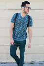 Black-ralph-lauren-boots-turquoise-blue-topman-shirt-black-backpack-h-m-bag