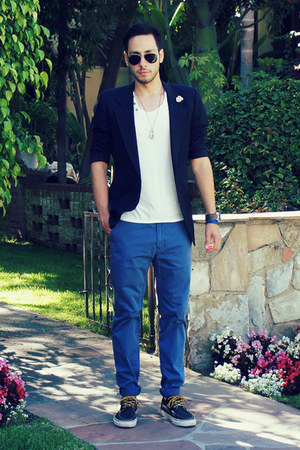 white t-shirt Topman shirt - navy Vans shoes - navy Givenchy blazer
