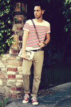 red striped H&M shirt - dark brown studded Urban Outfitters bag