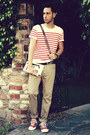 Red-striped-h-m-shirt-dark-brown-studded-urban-outfitters-bag