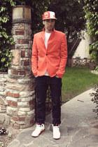 red Zara blazer - navy H&M jeans - new era hat - white Hanes shirt