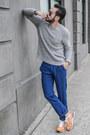 Silver-jacob-holston-sweater-black-ray-ban-sunglasses-blue-ted-baker-pants