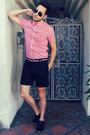 Black-royal-elastics-shoes-red-ben-sherman-shirt-black-h-m-shorts