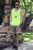 rock and spikes Micha Design necklace - yellow tank American Apparel shirt
