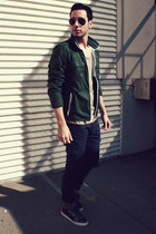 forest green Gap jacket - tan Topman shirt - black ray-ban sunglasses