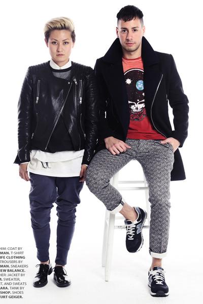black Topman coat - maroon LIFE Clothing Co shirt - black print Topman pants