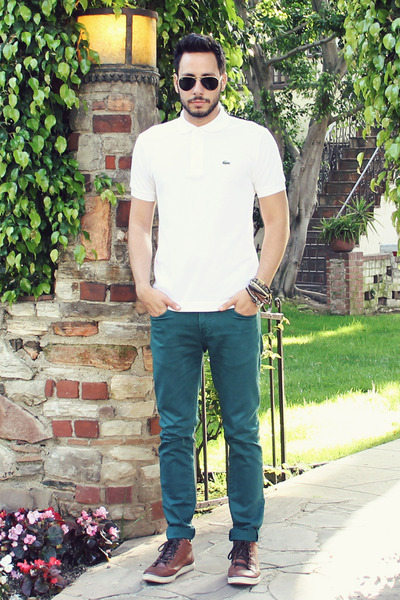 white polo Lacoste shirt - teal Zara jeans - black ray-ban sunglasses
