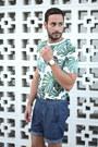 Green-forever21-shirt-black-h-m-bag-blue-uniqlo-shorts
