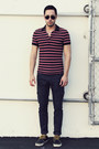 Navy-boat-shoes-vans-shoes-navy-cargo-levis-jeans-ruby-red-polo-h-m-shirt