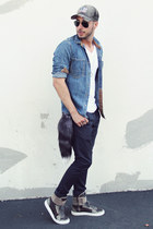 gray Rustix hat - sky blue denim Topman shirt - black aviator ray-ban sunglasses