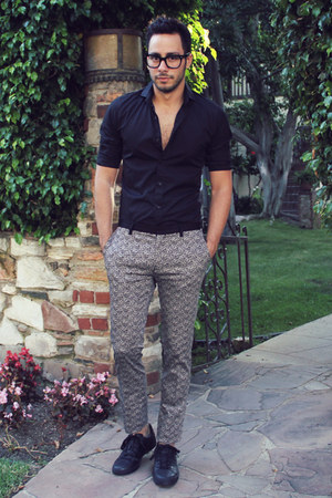 black Hugh & Crye shirt - silver paterned Topman pants - black Tom Ford glasses
