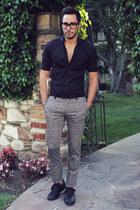 black Hugh & Crye shirt - silver paterned Topman pants - black Tom Ford glasses