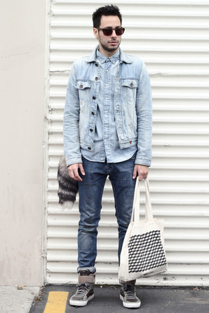 sky blue denim Guess jacket - blue H&amp;M jeans - sky blue chambray H&amp;M shirt