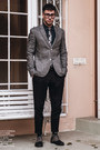 Gray-forever21-shoes-heather-gray-tweed-topman-blazer-navy-denim-h-m-shirt