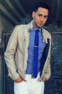 Blue-express-shirt-blue-h-m-shirt-beige-leather-jacket-heritage-jacket