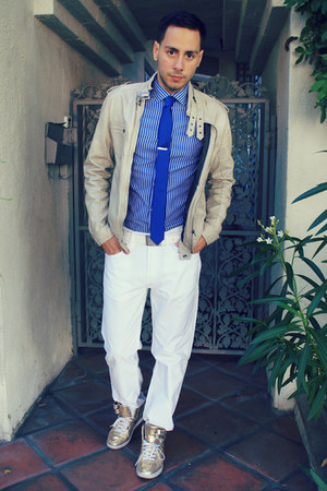 beige leather jacket Heritage jacket - blue H&M shirt - blue Express shirt