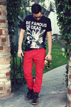 black Les Benjamins shirt - ruby red H&M jeans