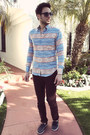 Aztec-print-naked-famous-denim-shirt-navy-boat-shoes-h-m-shoes