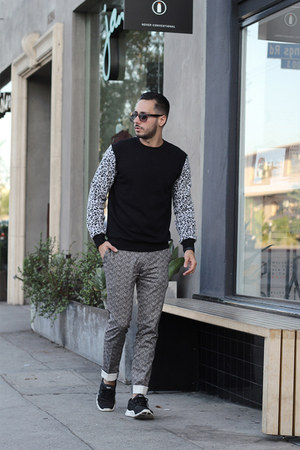 black Forever21 sweater - black Lacoste sunglasses - silver Topman pants
