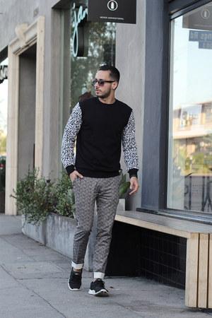 black Forever21 sweater - black Lacoste sunglasses - silver Topman pants