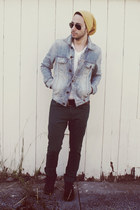 light blue denim Guess jacket - crimson Vans shoes - dark green Zara jeans