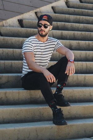 black Richer Poorer socks - white Levis shirt - black ray-ban sunglasses