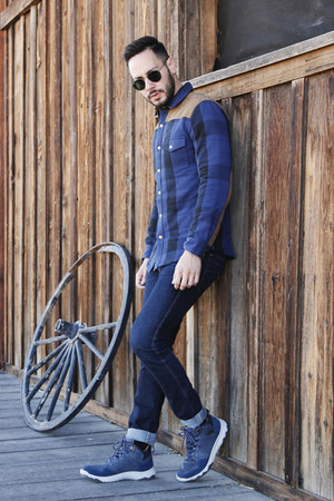 blue Eddie Bauer jacket - sky blue Teva boots