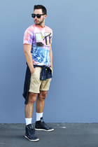 periwinkle wtf LIFE Clothing Co shirt - navy chambray H&M shirt - tan H&M shorts