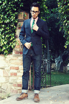 navy H&M jeans - dark brown Zara shoes - navy banana republic blazer