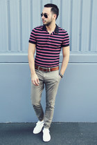 navy striped polo H&M shirt - black aviator ray-ban sunglasses