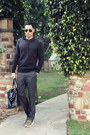 Dark-gray-kenneth-cole-reaction-sweater-black-h-m-bag