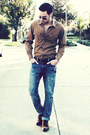 Dark-brown-zara-shoes-navy-hot-topic-jeans-light-brown-jcrew-shirt