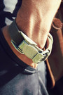 Army-green-hardware-diy-bracelet-light-blue-naked-famous-shirt