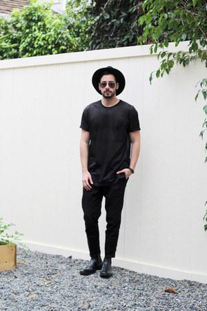 black Stacy Adams boots - black rag & bone hat - black Forever21 shirt