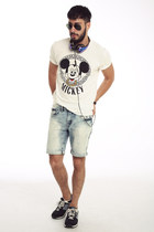 white joyrich shirt - light blue Forever21 shorts - black ray-ban sunglasses
