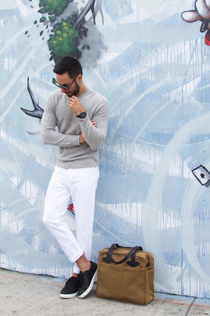 white acne jeans - silver steven alan sweater - brown Filson bag