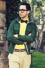 Yellow-express-shirt-navy-vans-shoes-dark-green-gap-jacket